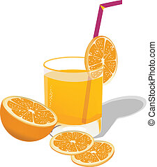 Orange juice - Orange slices and a glass of orange juice