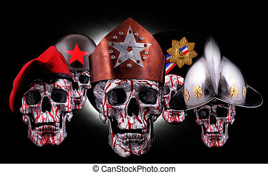 skulls - Human silver skulls with a crown, beret and helmets