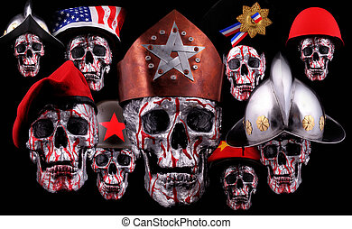 skulls - Human silver skulls with a crown, beret, bicorn and...