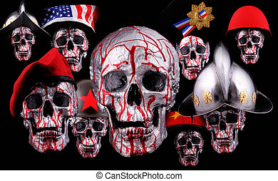 skulls - Human silver skulls with a beret, bicorn and...