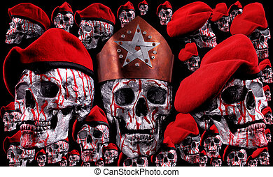 skulls - Human silver skulls with a crown and red berets as...