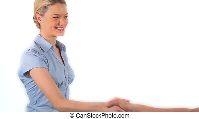Blonde woman shaking hands against a white background