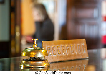 bell on  reception  in hotel