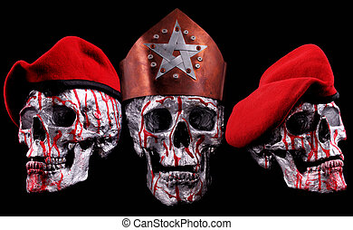 skulls - Human silver skulls with a crown and red helmets