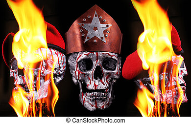 skulls - Human silver skulls with a crown, berets and fire...