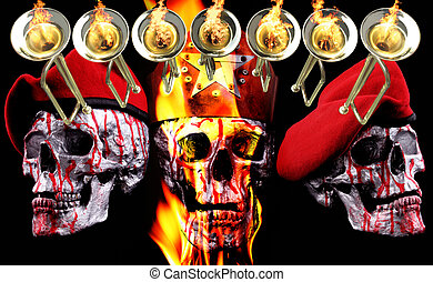 7 trumpets with human silver skulls, a crown and berets