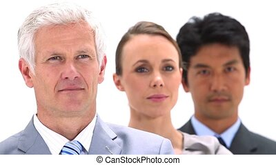 Three business people in a line against a white background