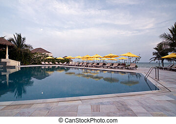 Swimming pool in Vietnam hotel - Clear swimming pool in...