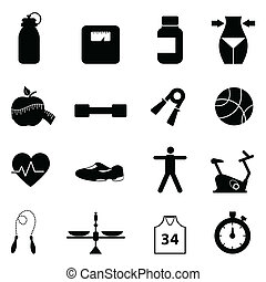 Fitness and diet icon set - Fitness, diet and healthy...