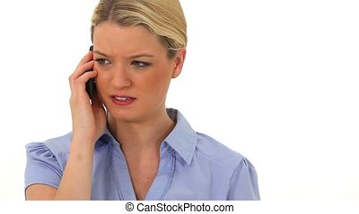 Worried woman talking on the phone against a white...