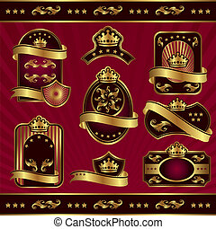 gold royal labels - set vector image gold royal labels