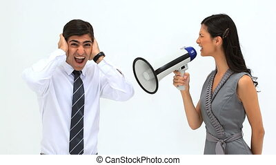 Woman shouting in a megaphone against a white background