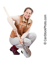 woman  spading with spade