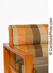 Colorful upholstery wooden armchair on white background