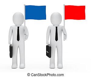 business men hold flag