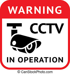 CCTV warning symbol - Warning Sticker for Security Alarm...