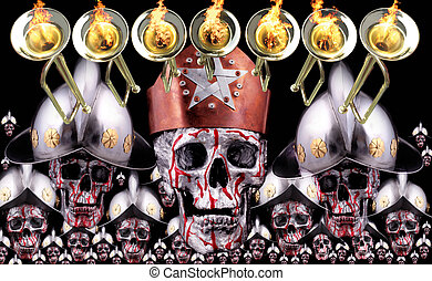 7 trumpets with human skulls, a crown, knights helmets as...