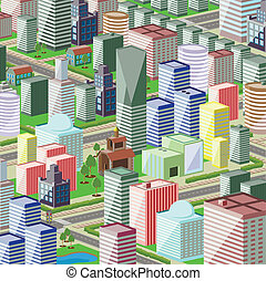 city - illustration of a modern city with high