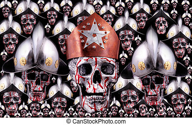 skulls - Human skulls with a crown, knights helmets as army