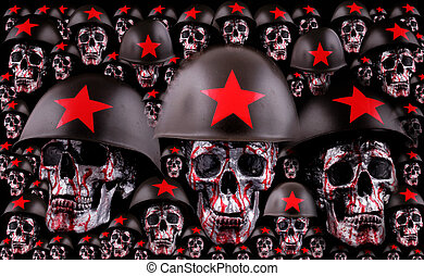 skulls - Human silver skulls with red helmets as army