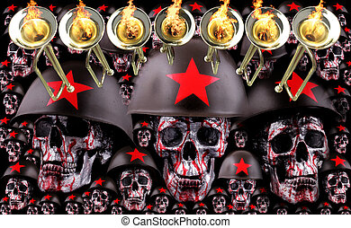 7 trumpets with human silver skulls with red helmets as army