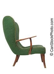 肘掛け椅子, 白, 緑, レトロ, 背景