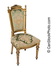 Luxury golden vintage chair on white background