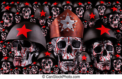 skulls - Human skulls with a crown, red stars and helmets as...