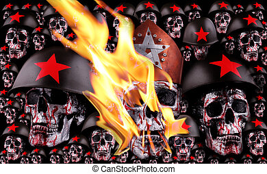 skulls - Human skulls with a crown, red stars, helmets as...