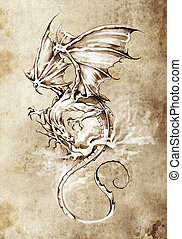 Sketch of tattoo art, classic dragon illustration