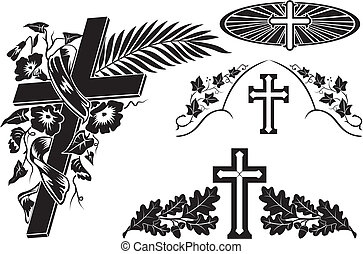 grave decoration  - decorating a memorial plaque, cross icon