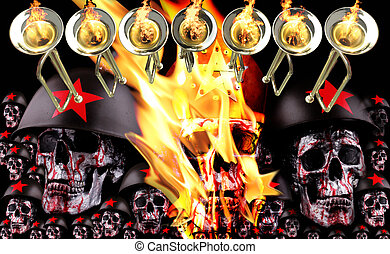 7 trumpets with human skulls with a crown, red stars and...