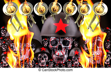 7 trumpets with human silver skulls and red helmets as army