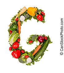 Vegetable letter - Vegetable alphabet letter, isolated on...
