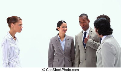 Woman shouting at colleagues against a white background