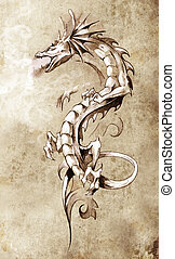 Sketch of tattoo art, big medieval dragon, fantasy concept