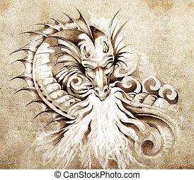croquis, tatouage, art, Fantasme, moyen-âge, dragon,...