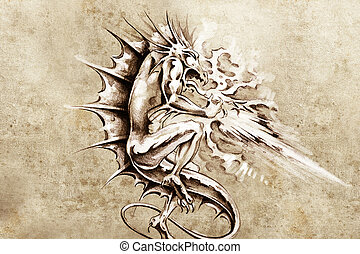 Tattoo art, sketch of a dragon burning design elements over...