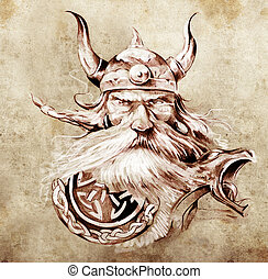 tatouage, art, croquis, viking, Guerrier, Illustration,...