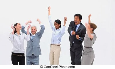 An excited business team against a white background