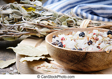 Sea salt mix with juniper berries and rosemary