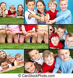 Happy children - Collage of four restful kids looking at...