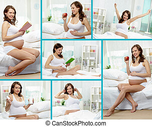 Mommy - Collage of happy pregnant woman having rest at home