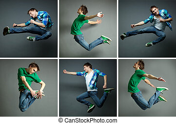 Man in jump - Collage of skilled guy jumping high in various...