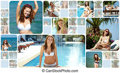 At resort - Collage of happy young woman at summer resort