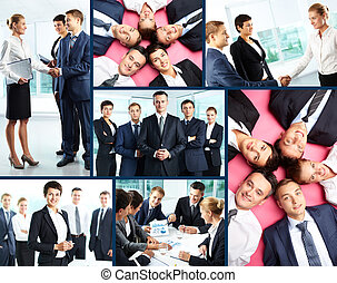 Business partners - Collage of business people interacting...
