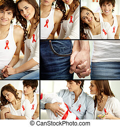 Supporting AIDS campaign - Collage of young couple...
