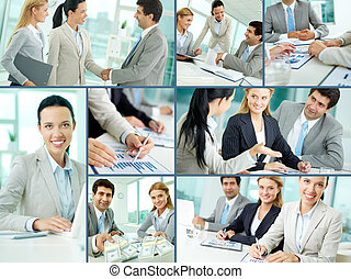 Business team at work - Collage of businesspeople working in...