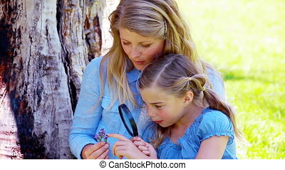Daughter and mother using a magnifying glass in a park