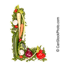 Vegetable letter - Vegetable alphabet letter, isolated on...
